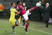 FOOTBALL - UEFA CHAMPIONS LEAGUE 2011/2012 - 1/8 FINAL - 1ST LEG - OLYMPIQUE LYONNAIS v APOEL FC - 14/02/2012 - PHOTO EDDY LEMAISTRE / DPPI - MICHEL BASTOS  (OL) AND  SAVVAS POURSAITIDES (APOEL FC)