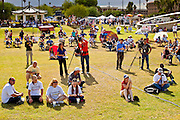 12 JUNE 2010 - PHOENIX, AZ: The afternoon crowd at Bolin Memorial Park near the State Capitol in Phoenix Saturday. About 500 people, many from California and Florida, came to Bolin Memorial Park in Phoenix Saturday. The pro SB 1070 rally was sponsored by Tea Party.   PHOTO BY JACK KURTZ