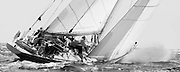 12 Meter Class Weatherly at the Nantucket 12 Meter Regatta. Skippered by Senator Ted Kennedy.