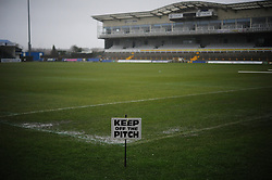 Keep of the pitch sign in place at the Memorial Stadium after the game was called off - Photo mandatory by-line: Dougie Allward/JMP - Tel: Mobile: 07966 386802 22/12/2012 - SPORT - FOOTBALL - Memorial Stadium - Bristol -  Bristol Rovers v Rotherham United- League 2.