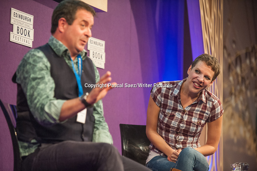 Francesca Martinez (right), British stand-up comedian, actress and writer, on stage at the Edinburgh International Book Festival. 22nd August 2014.<br />