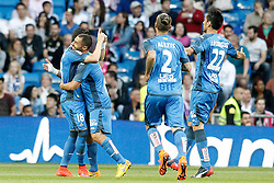 23.05.2015, Estadio Santiago Bernabeu, Madrid, ESP, Primera Division, Real Madrid vs FC Getafe, 38. Runde, im Bild Getafe's Sergio Escudero, Medhi Lacen, Alexis Ruano and Juan Rodriguez celebrate goal // during the Spanish Primera Division 38th round match between Real Madrid CF and Getafe FCat the Estadio Santiago Bernabeu in Madrid, Spain on 2015/05/23. EXPA Pictures &copy; 2015, PhotoCredit: EXPA/ Alterphotos/ Acero<br /> <br /> *****ATTENTION - OUT of ESP, SUI*****