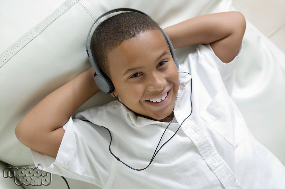 Boy Listening to Music on Headphones