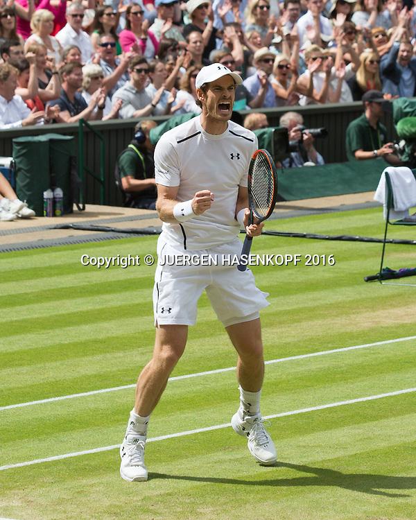 ANDY MURRAY (GBR) macht die Faust und jubelt,Jubel, Emotion, Herren Endspiel, Finale <br /> <br /> Tennis - Wimbledon 2016 - Grand Slam ITF / ATP / WTA -  AELTC - London -  - Great Britain  - 10 July 2016.