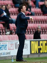 Wigan's Manager Gary Caldwell gestures - Photo mandatory by-line: Richard Martin-Roberts/JMP - Mobile: 07966 386802 - 25/04/2015 - SPORT - Football - Wigan - DW Stadium - Wigan Athletic v Wolverhampton Wanderers - Sky Bet Championship