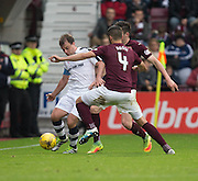 Dundee&rsquo;s Paul McGowan takes on Hearts&rsquo; Igor Rossi and John Souttar - Hearts v Dundee, Ladbrokes Scottish Premiership at Tynecastle, Edinburgh. Photo: David Young<br /> <br />  - &copy; David Young - www.davidyoungphoto.co.uk - email: davidyoungphoto@gmail.com