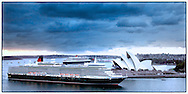 Copyright JIm Rice © 2013. Queen Elizabeth and Queen Mary 2 meet in Sydney harbour