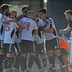 TELFORD COPYRIGHT MIKE SHERIDAN 1/9/2018 - GOAL. Ellis Deeney of AFC Telford leaps on goalscorer Daniel Udoh of AFC Telford ago celebrate with fans after he scores to make it 2-1 during the Vanarama Conference North fixture between AFC Telford United and Ashton United FC.