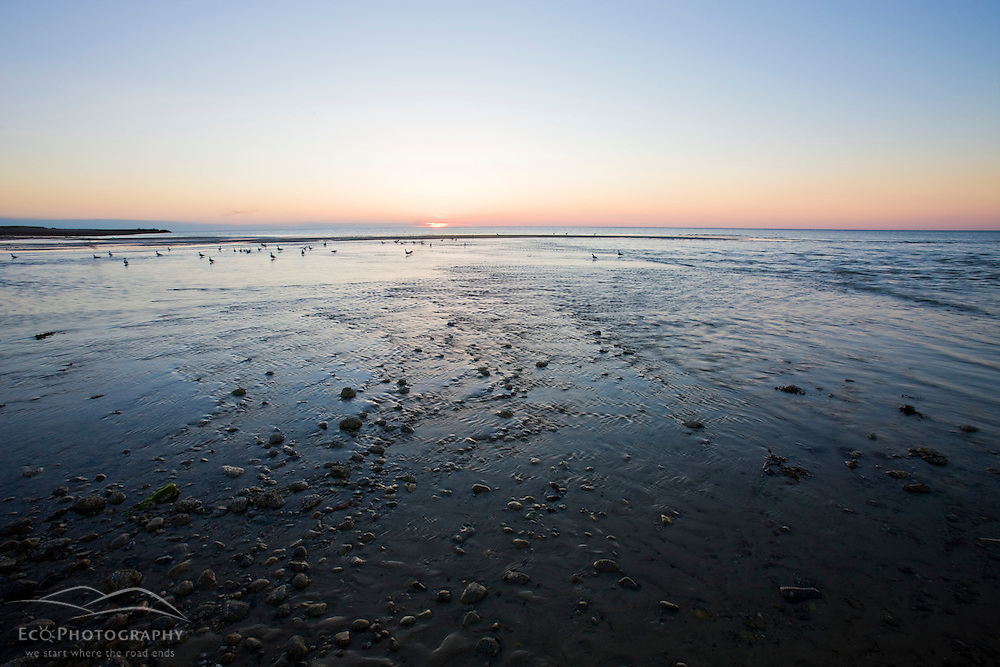 Dawn at the Shifting Lots Preserve in Plymouth, Massachusetts.  Owned by the Wildlands Trust.  Cape Cod Bay.  Near Ellisville Harbor State Park.