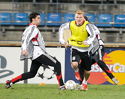 MARSEILLE, FRANCE - Monday, December 10, 2007: Liverpool's John Arne Riise training at the Stade Velodrome ahead of the final UEFA Champions League Group A match against Olympique de Marseille. Liverpool must win to progress to the knock-out stage. (Photo by David Rawcliffe/Propaganda)