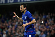 Chelsea FC forward Pedro (11) celebrates scoring the opening goal 1-0 during the Europa League quarter-final, leg 2 of 2 match between Chelsea and Slavia Prague at Stamford Bridge, London, England on 18 April 2019.