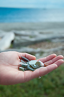 Beach glass is a treasure found at Willows Beach, Victoria, BC
