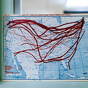 Jetstream map in the Mount Washington Observatory, where the worst weather in the world takes place.