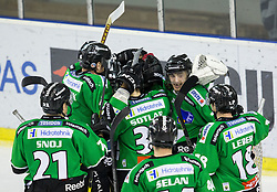 25.01.2015, Hala Tivoli, Ljubljana, SLO, EBEL, HDD Telemach Olimpija Ljubljana vs EHC Liwest Linz, 43. Runde, in picture players of HDD Telemach Olimpija celebrate after the Erste Bank Icehockey League 43. Round between HDD Telemach Olimpija Ljubljana and EHC Liwest Linz at the Hala Tivoli, Ljubljana, Slovenia on 2015/01/25. Photo by Vid Ponikvar / Sportida