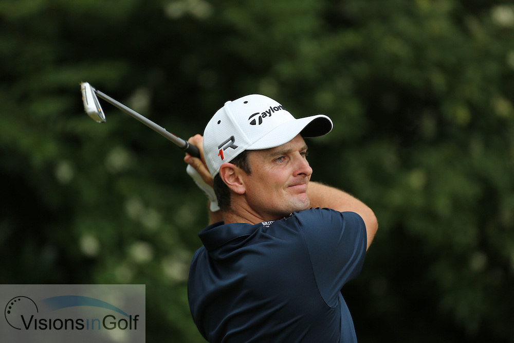 Justin Rose on the 11th<br /> on the final day at the US Open Championship, Merion East, PA. USA 2013 <br /> Picture Credit:  Mark Newcombe / visionsingolf.com
