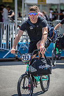 Men Elite #313 (KIMMANN Niek) NED arriving on race day at the 2018 UCI BMX World Championships in Baku, Azerbaijan.