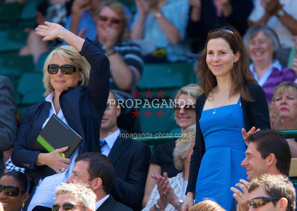 LONDON, ENGLAND - Saturday, June 28, 2008: Comedians Sally Phillips (R) and Jennifer Saunders watch from the royal box during a third round match on day six of the Wimbledon Lawn Tennis Championships at the All England Lawn Tennis and Croquet Club. (Photo by David Rawcliffe/Propaganda)