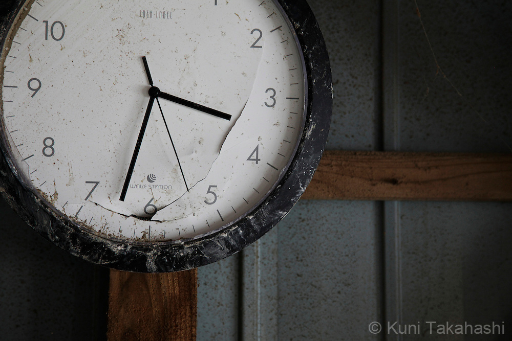 A clock stopped 3:32 pm when tsunami hit in Onagawa, Miyagi, Japan on April 2, 2011 after massive earthquake and tsunami hit northern Japan. More than 20,000 were killed by the disaster on March 11.<br /> Photo by Kuni Takahashi