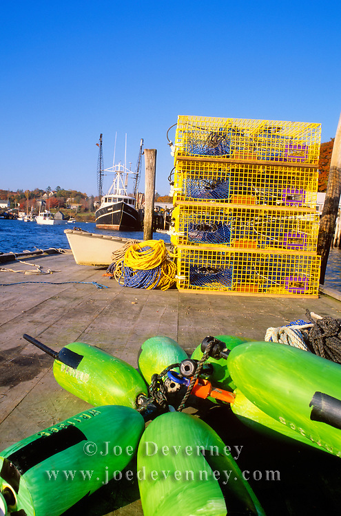 Buoys and lobster traps. New Harbor, maine