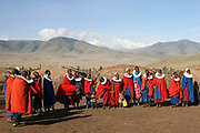A Group of Maasai women in red robes. Maasai is an ethnic group of semi-nomadic people. Photographed in Tanzania