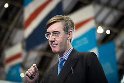 © Licensed to London News Pictures . 02/10/2017. Manchester, UK. JACOB REES-MOGG is interviewed for television at the conference . The second day of the Conservative Party Conference at the Manchester Central Convention Centre . Photo credit: Joel Goodman/LNP
