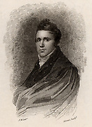 Robert J Jameson (1774-1854) Scottish mineralogist born at Leith, the sea port for Edinburgh. Regius Professor of Natural History and keeper of museum, Edinburgh 1804-1854.  Engraving from 'Peter's Letters to his Kinsfolk' by Peter Morris (Edinburgh, 1819).