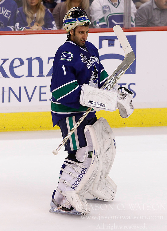 June 10, 2011; Vancouver, BC, CANADA; Vancouver Canucks goalie Roberto Luongo during game five of the 2011 Stanley Cup Finals against the Boston Bruins at Rogers Arena. The Canucks won 1-0. Mandatory Credit: Jason O. Watson / US PRESSWIRE