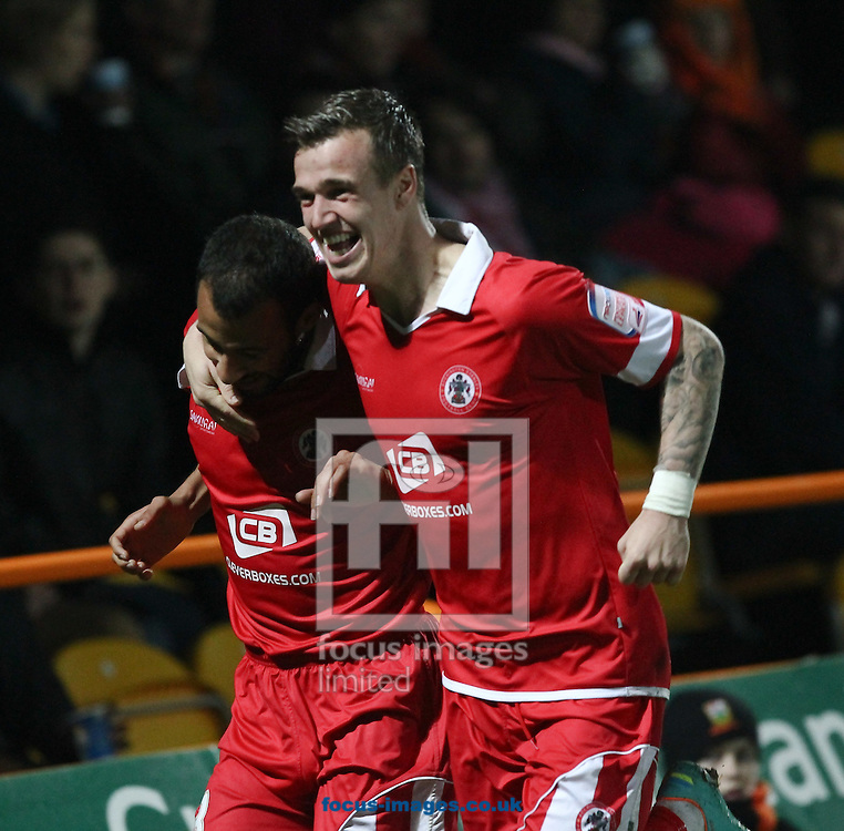 Picture by John  Rainford/Focus Images Ltd +44 7506 538356.16/11/2012.Rommy Boco of Accrington Stanley celebrates opening the scoring with eam-mate James Gray during the npower League 2 match at Underhill Stadium, London.