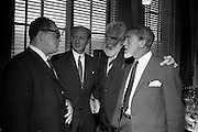 "17/08/1967<br /> 08/17/1967<br /> 17 August 1967<br /> Player and Wills (Ireland) Ltd. give development grant to Cork Film Festival at Player and Wills headquarters, South Circular Road, Dublin. Picture shows Taoiseach Jack Lynch T.D.,  (2nd from left0 chatting with William Graf (left), who was producing ""Sinful Davey"" in Ireland and also producer for ""A Man for all Seasons""; Mr Noel Purcell and Mr Eddie Byrne, Irish Film Personalities at the reception."