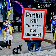 Anti-Putin Ukrainian protest outside Downing Street, London, UK