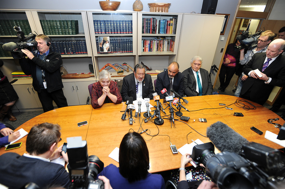 The press conference as Pita Sharples, second left, announces his resignation as co-leader of the Maori Party with co-leader Tariana Turia, left, Te Ururoa Flavell and Party President Pem Bird, Parliament, Wellington, New Zealand, Tuesday, July 02, 2013. Credit:SNPA / Ross Setford