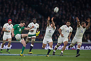Twickenham. Great Britain.<br /> Jonathan SEXTON, kicking from midfield, during the <br /> RBS Six Nations Rugby, England vs Ireland at the RFU Twickenham Stadium. England.<br /> <br /> Saturday  27/02/2016. <br /> <br /> [Mandatory Credit; Peter Spurrier/Intersport-images]
