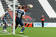 Southend United goalkeeper Mark Oxley (1) makes an important save during the EFL Sky Bet League 1 match between Milton Keynes Dons and Southend United at stadium:mk, Milton Keynes, England on 22 October 2016. Photo by Dennis Goodwin.