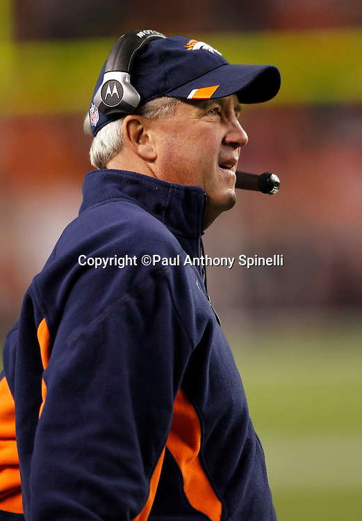 Denver Broncos head coach John Fox looks on during the NFL week 11 football game against the New York Jets on Thursday, November 17, 2011 in Denver, Colorado. The Broncos won the game 17-13. ©Paul Anthony Spinelli