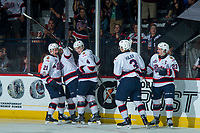 REGINA, SK - MAY 20: Libor Hajek #3, Sam Steel #23, Cale Fleury #4 and Nick Henry #21 of Regina Pats  celebrate a goal against the Acadie-Bathurst Titan at the Brandt Centre on May 20, 2018 in Regina, Canada. (Photo by Marissa Baecker/CHL Images)