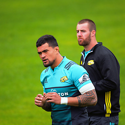 Vaea Fifita and Mark Abbott. Hurricanes rugby union training at Rugby League Park in Wellington, New Zealand on Wednesday, 5 April 2017. Photo: Dave Lintott / lintottphoto.co.nz