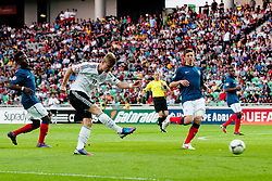 Timo Werner of Germany shots on goal during the UEFA European Under-17 Championship Group A match between Germany and France on May 10, 2012 in SRC Stozice, Ljubljana, Slovenia. (Photo by Matic Klansek Velej / Sportida.com)