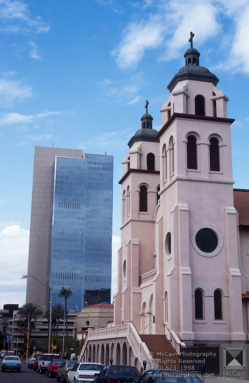 St. Mary's Basilica; the cathedral with skyscrapers behind, Phoenix, Arizona..Media Usage:.Subject photograph(s) are copyrighted Edward McCain. All rights are reserved except those specifically granted by McCain Photography in writing...McCain Photography.211 S 4th Avenue.Tucson, AZ 85701-2103.(520) 623-1998.mobile: (520) 990-0999.fax: (520) 623-1190.http://www.mccainphoto.com.edward@mccainphoto.com