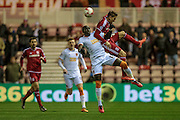 Mohamed Diamé (Hull City) jumps for the ball with Adam Clayton (Middlesbrough) General view of the Riverside Stadium before the Sky Bet Championship match between Middlesbrough and Hull City at the Riverside Stadium, Middlesbrough, England on 18 March 2016. Photo by Mark P Doherty.