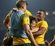 Australia's fly half Bernard Foley celebrating scoring Australia's second try during the Rugby World Cup Pool A match between England and Australia at Twickenham, Richmond, United Kingdom on 3 October 2015. Photo by Matthew Redman.
