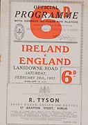 Irish Rugby Football Union, Ireland v England, Five Nations, Landsdowne Road, Dublin, Ireland, Saturday 10th February, 1951,.10.2.1951, 2.10.1951,..Referee- Mr Trevor Jones, Welsh Rugby Union, ..Score- Ireland 3 - 0 England, ..Irish Team, ..G Norton, Wearing number 15 Irish jersey, Full back, Bective Rangers Rugby Football Club, Dublin, Ireland,  ..C S Griffin, Wearing number 14 Irish jersey, Right Wing, London Irish Rugby Football Club, Surrey, England, ..N J Henderson, Wearing number 13 Irish jersey, Right centre, Queens University Rugby Football Club, Belfast, Northern Ireland,..R R Chambers, Wearing number 12 Irish jersey, Left Centre, Instonians Rugby Football Club, Belfast, Northern Ireland, ..W H J Millar, Wearing number 11 Irish jersey, Left Wing, Queens University Rugby Football Club, Belfast, Northern Ireland,..J W Kyle, Wearing number 10 Irish jersey, Stand Off, Queens University Rugby Football Club, Belfast, Northern Ireland,..J A O'Meara, Wearing number 9 Irish jersey, Scrum, University college Cork Football Club, Cork, Ireland,  ..T Clifford, Wearing number 8 Irish Jersey, Forward, Young Munster Rugby Football Club, Limerick, Ireland, ..K Mullen, Wearing number 7 Irish Jersey, Captain of the Irish team, Forward, Old Belvedere Rugby Football Club, Dublin, Ireland, ..J H Smith, Wearing number 6 Irish jersey, Forward, Queens University Rugby Football Club, Belfast, Northern Ireland,..J E Nelson, Wearing number 5 Irish jersey, Forward, Malone Rugby Football Club, Belfast, Northern Ireland,..D McKibbin, Wearing number 4 Irish jersey, Forward, Instonians Rugby Football Club, Belfast, Northern Ireland, ..J W McKay, Wearing number 3 Irish jersey, Forward, Queens University Rugby Football Club, Belfast, Northern Ireland,..D J O'Brien, Wearing number 2 Irish jersey, Forward, London Irish Rugby Football Club, Surrey, England, and, Old Belvedere Rugby Football Club, Dublin, Ireland, ..J McCarthy, Wearing number 1 Irish jersey, Forward, Dolphin Rugby Football Club,