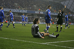 LONDON, ENGLAND - SATURDAY, JANUARY 7th, 2006: Everton's Nuno Valente looks distraught after referee Rob Styles failed to award a penalty during the FA Cup 3rd Round match at the New Den. (Pic by Chris Brunskill/Propaganda)