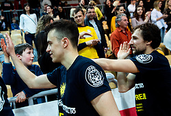 Zan Mark Sisko of Sixt Primorska and Tadej Ferme of Sixt Primorska celebrate after winning during basketball match between KK Sixt Primorska and KK Hopsi Polzela in final of Spar Cup 2018/19, on February 17, 2019 in Arena Bonifika, Koper / Capodistria, Slovenia. KK Sixt Primorska became Slovenian Cup Champion 2019. Photo by Vid Ponikvar / Sportida