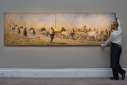 © licensed to London News Pictures. London, UK 23/11/2012. 'Transportation of the Wounded' by Vasily Vasilievich Vereshchagin estimated to be sold for £800,000-1,200,000 by Sotheby's on 26 November 2012 in London. Photo credit: Tolga Akmen/LNP