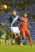 Birmingham City midfielder Andrew Shinnie and Blackburn Rovers midfielder Lee Williamson battle during the Sky Bet Championship match between Birmingham City and Blackburn Rovers at St Andrews, Birmingham, England on 3 November 2015. Photo by Alan Franklin.