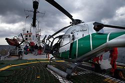 ATLANTIC OCEAN ABOARD ARCTIC SUNRISE 13MAY11 - Heli opts on the helideck of the Greenpeace Ship Arctic Sunrise...Photo by Jiri Rezac / Greenpeace
