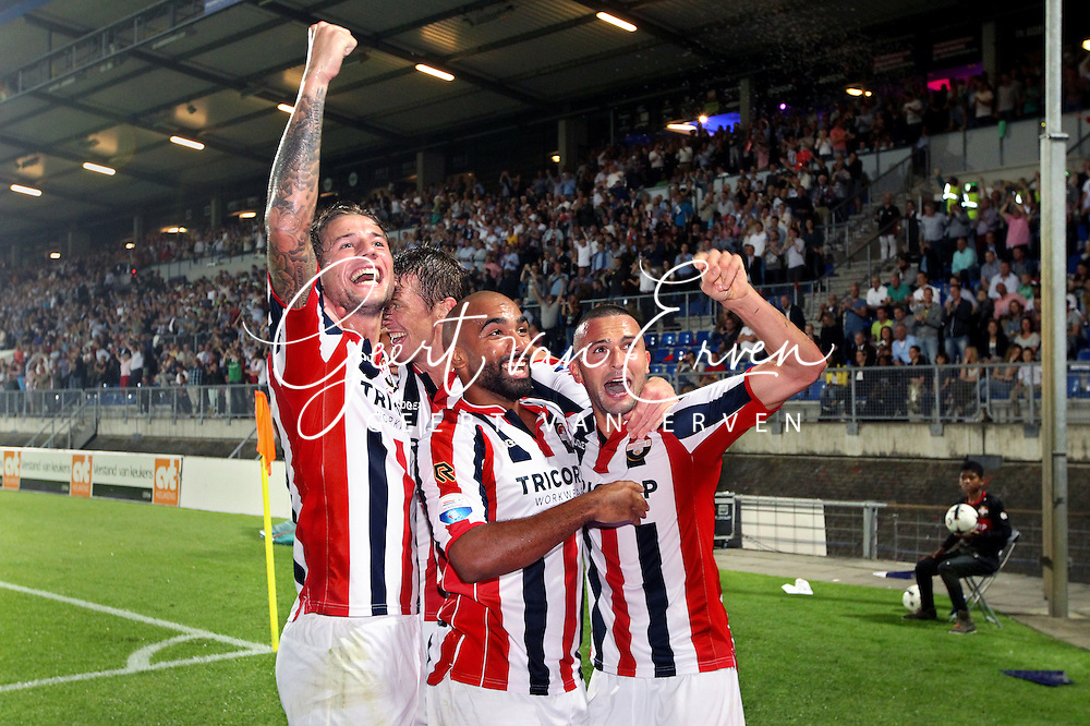 Onderwerp/Subject: Willem II v NAC Breda - Eredivisie<br /> Reklame:  <br /> Club/Team/Country: <br /> Seizoen/Season: 2014/2015<br /> FOTO/PHOTO: Ben SAHAR (R) of Willem II celebrating his goal with Samuel ARMENTEROS (C) of Willem II and Mitchell DIJKS (L) of Willem II and Robert BRABER (BEHIND) of Willem II ( 1 - 0 ). (Photo by PICS UNITED)<br /> <br /> Trefwoorden/Keywords: <br /> #02 $94 &plusmn;1401920268162<br /> Photo- &amp; Copyrights &copy; PICS UNITED <br /> P.O. Box 7164 - 5605 BE  EINDHOVEN (THE NETHERLANDS) <br /> Phone +31 (0)40 296 28 00 <br /> Fax +31 (0) 40 248 47 43 <br /> http://www.pics-united.com <br /> e-mail : sales@pics-united.com (If you would like to raise any issues regarding any aspects of products / service of PICS UNITED) or <br /> e-mail : sales@pics-united.com   <br /> <br /> ATTENTIE: <br /> Publicatie ook bij aanbieding door derden is slechts toegestaan na verkregen toestemming van Pics United. <br /> VOLLEDIGE NAAMSVERMELDING IS VERPLICHT! (&copy; PICS UNITED/Naam Fotograaf, zie veld 4 van de bestandsinfo 'credits') <br /> ATTENTION:  <br /> &copy; Pics United. Reproduction/publication of this photo by any parties is only permitted after authorisation is sought and obtained from  PICS UNITED- THE NETHERLANDS