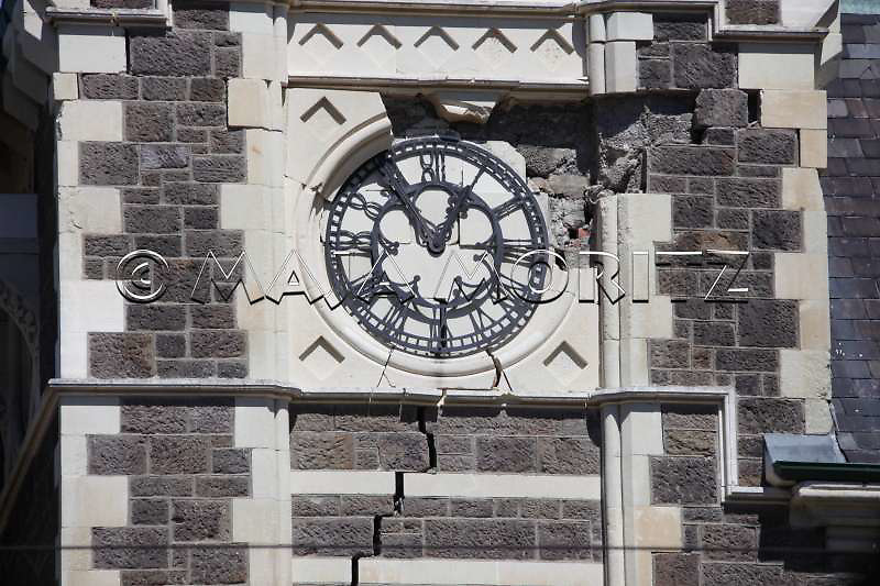 The clock on a tower of the Art Centre stopped at the time of the earthquake, Christchurch, city center
