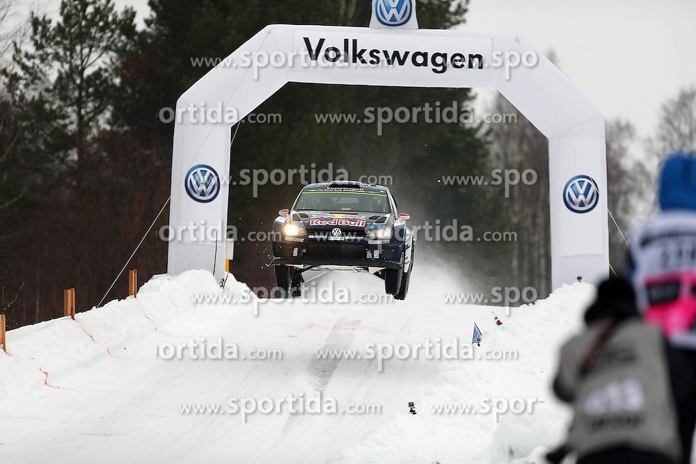 13.02.2015, Karlstad, Karlstad, SWE, FIA, WRC, Schweden Rallye, im Bild Jari-Matti Latvala/Miikka Anttila (Volkswagen Motorsport/Polo R WRC) // during the WRC Sweden Rallye at the Raga in Karlstad in Karlstad, Sweden on 2015/02/13. EXPA Pictures &copy; 2015, PhotoCredit: EXPA/ Eibner-Pressefoto/ Bermel<br /> <br /> *****ATTENTION - OUT of GER*****