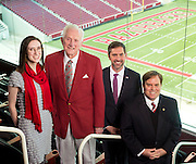 From left, Meredith Lowry, Frank Broyles, Gred Leding and Jon Woods.